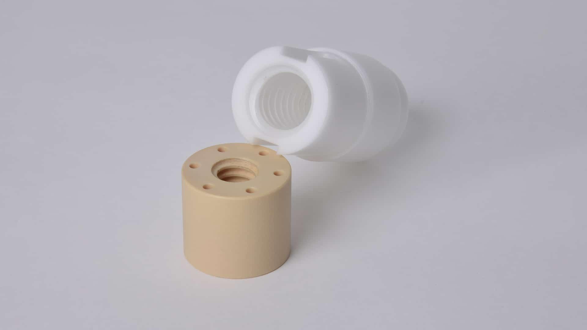 Tragmutter mit Bewegungsgewinde mit FDA, 3A, USP ClassVI, EU 10/2011, pyhsiologisch unbedenklich für Getränke und Lebensmittel